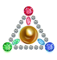 Equilateral triangle composition colored gems set vector image vector image