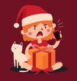 Christmas Girl Arguing at the Phone and Holding a vector image