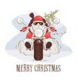 christmas card - santa biker vector image