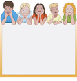 Five young children leaning on they elbows vector image