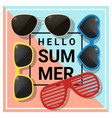 hello summer background with colorful sunglasses vector image