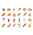 Junk food icons set vector image