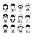 People Occupations Icons Set Monochrome vector image