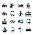 Transport travel icons set isoalated vector image