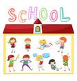 children doing different activities at school vector image vector image