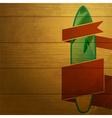 surfboard emblem on wood vector image vector image
