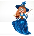 Beautiful witch wearing in blue dress holding a vector image