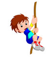 boy swinging on a rope vector image