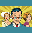 handsome man looking at two women vector image