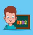 little boy with chalkboard vector image