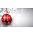 Silver christmas background with red ball vector image