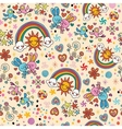 cute bunnies birds rainbows seamless pattern vector image