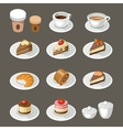 Set of sweets and coffee vector image vector image