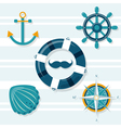 Set of five nautical vector image