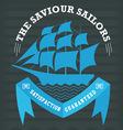 Vintage nautical emblem with sailing ship on dark vector image