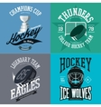 Hockey logo set with puck and crest stick trophy vector image