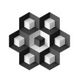 abstract geometric object with cubes on white vector image vector image