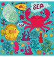 Crab print vector image