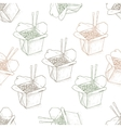 Seamless pattern scetch of chinese noodles box vector image