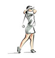 color line sketch woman playing golf vector image