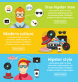 hipster style banner horizontal set flat style vector image