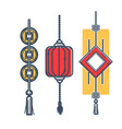 japanese lantern and mascots for luck and vector image
