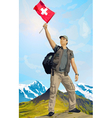 Man tourist standing on mountain vector image