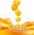 mango slices falling into fresh juice isolated vector image
