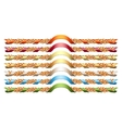Oak wreathes with colorful ribbons vector image