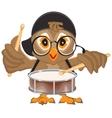 Owl drummer Owl beats the drum vector image
