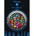 Sea travel icon set with underwater diving animals vector image