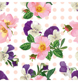 seamless pattern bouquet of roses and forget me vector image