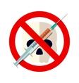 syringe with forbidden sign - no drug vector image