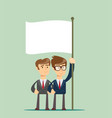 two business man holding a flag vector image