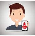 man crooss smartphone graphic vector image