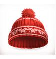 Red winter knitted hat 3d icon vector image