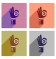 concept of flat icons with long shadow hand coin vector image