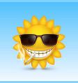 smiley sun glasses smoke vector image