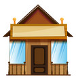 wooden hut with sign on top vector image