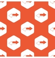 Orange hexagon opposite arrows pattern vector image
