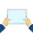 Businessman Hand holding tablet pc with blank vector image
