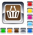shopping cart square button vector image