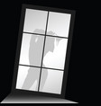 girl silhouette with underwear front of window vector image