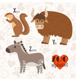 Zoo alphabet with funny animals X y z letters vector image