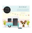 Cute animal collection Dog house 3 vector image