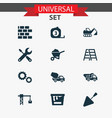 industry icons set collection of digger cogwheel vector image