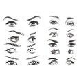 hand drawn woman eyes collection on white vector image