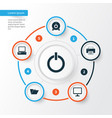 laptop icons set collection of desktop power on vector image
