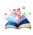 A book with an image of a pig dancing vector image