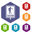 zombie road sign icons set hexagon vector image